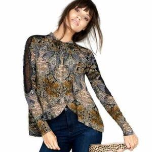 Free People art nouveau boho print blouse lace